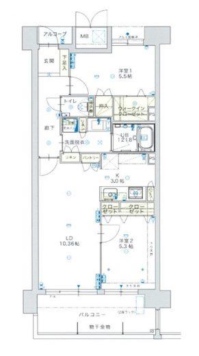 洋室5.3畳 / 洋室5.5畳 / LDK13.36畳(間取)